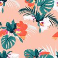 Seamless pattern, bright vintage colors monstera leaves and hibiscus flowers on light orange background. Royalty Free Stock Photo