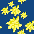 Seamless Pattern with Bright Yellow Magnolia Flowers on the Blue Background. Royalty Free Stock Photo