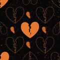 Seamless pattern of broken hearts painted on grunge cement wall. background with flame sparks - love concept Royalty Free Stock Photo