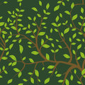 Seamless pattern Brown branches with green leaves, pastel colors on white background. Vector