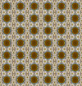 Seamless pattern of brown circle and white flower for use as background texture Royalty Free Stock Photography