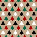 Seamless Pattern Brown Paper And Christmas Trees Red Green Black White