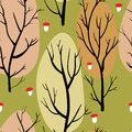 Seamless pattern with brown trees and red mushrooms on green background