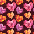Seamless pattern with brush strokes and blots in heart shapes Royalty Free Stock Photo