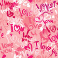 Seamless pattern with brush strokes and scribbles in heart shapes words love i love you valentines day background Stock Photography