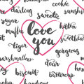 Seamless pattern brushpen lettering and calligraphy affectionate nickname for your significant other.