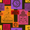 Seamless pattern of buddhism signs abstract geometric buddha face om sign and palm hand Stock Photo