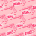 Seamless pattern with bullet, pistol. Bang.