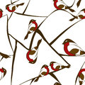 Seamless pattern of bullfinch birds winter with sitting on abstract branches tree Stock Photography