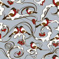 Seamless pattern of bullfinch birds winter with sitting on branches rowan tree Stock Images