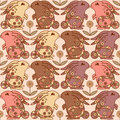 Seamless pattern with bunnies and flowers vector illustration Stock Images