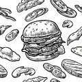 Seamless pattern burger include cutlet, tomato, cucumber and salad.