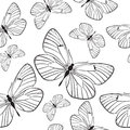 Seamless pattern with butterflies cute monochrome Royalty Free Stock Image