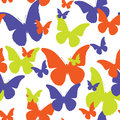 Seamless pattern of butterflies of different color.