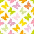 Seamless Pattern Butterflies Green Pink Yellow Orange