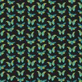 Seamless pattern with butterfly cicadas sketch, yellow orange olive green blue contour on dark black background. simple art. Can Royalty Free Stock Photo