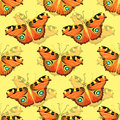 Seamless pattern with butterfly peacock. vector illustration