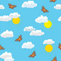 Seamless pattern with butterfly, sun ,sky, clouds Stock Image