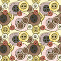 Seamless pattern with buttons retro pastel texture different colorful Stock Photos