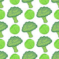Seamless pattern with cabbage and broccoli. Vector illustration with hand drawn healthy vegetable mix. Perfect for packaging, wrap Royalty Free Stock Photo