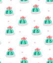 Seamless pattern with cacti in a flowerpots and pink triangles on white background. Ornament for textile and wrapping. Vector