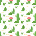 Seamless pattern of cacti and succulents. Flat design cactus isolated on white background.