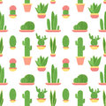 Seamless pattern of cacti and succulents in pots. Flat design cactus isolated on white background.