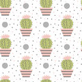 Seamless pattern of cacti.