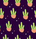 Seamless pattern with cactus in a flowerpot and geometric shape on black background. Succulent in doodle style. Ornament for texti