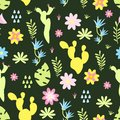Seamless pattern with cactus flowers- vector illustration, eps