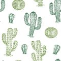 Seamless pattern with cactus. Hand drawn desert plants cactuses repeat vector texture