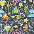 Seamless pattern with cactus, palm trees, ship anchor