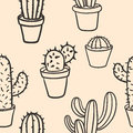 Seamless pattern with cactus. Pattern of cactus. Cacti in pots.