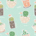 Seamless pattern with cactus in pot with face.