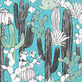 Seamless pattern with cactus. Wild cacti forest