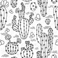 Seamless pattern with cactuses. Royalty Free Stock Photo