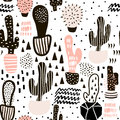Seamless pattern with cactuses and hand drawn textures.Perfect for fabric,textile.Vector background.