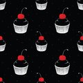 Seamless pattern with cake with cherry on black background Royalty Free Stock Image