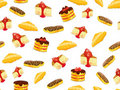 Seamless pattern with cake, croissant and eclair Royalty Free Stock Image