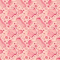 Seamless pattern with cake, eclair, strawberry, cherry, drops of syrup. Royalty Free Stock Photo