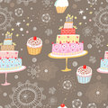 Seamless pattern cakes Royalty Free Stock Images