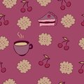 Seamless pattern with cakes cherry and coffee milk biscuits Stock Image