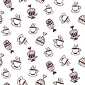 Seamless pattern with cakes and coffee cups