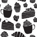 Seamless pattern with cakes in doodle vintage style on white background.