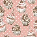 Seamless pattern with cakes this is file of eps format Royalty Free Stock Images