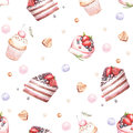 Seamless pattern with cakes. Hand draw watercolor illustration
