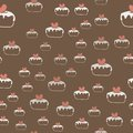 Seamless pattern with cakes and hearts . Vector.