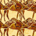 Seamless pattern with camel decorated with oriental ornaments on grunge background. Royalty Free Stock Photo
