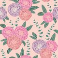 Seamless pattern with camellias and spiral eucalyptus. Decorative holiday floral background Royalty Free Stock Photo