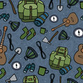 Seamless pattern of camping equipment black contour on blue background. Hand drawn tourist illustration